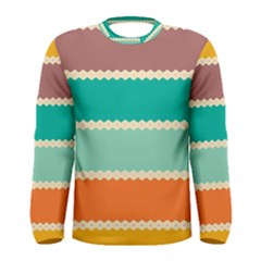 Rhombus And Retro Colors Stripes Pattern Men Long Sleeve T Shirt