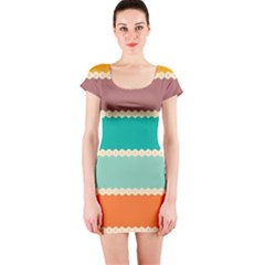 Rhombus And Retro Colors Stripes Pattern Short Sleeve Bodycon Dress