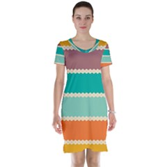 Rhombus And Retro Colors Stripes Pattern Short Sleeve Nightdress
