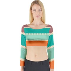 Rhombus And Retro Colors Stripes Pattern Long Sleeve Crop Top