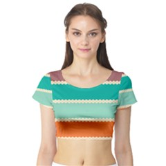 Rhombus And Retro Colors Stripes Pattern Short Sleeve Crop Top