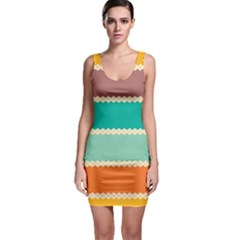 Rhombus And Retro Colors Stripes Pattern Bodycon Dress
