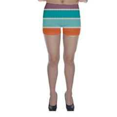 Rhombus And Retro Colors Stripes Pattern Skinny Shorts