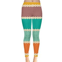 Rhombus And Retro Colors Stripes Pattern Leggings