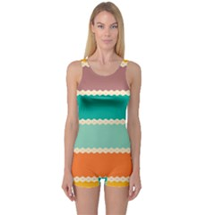 Rhombus And Retro Colors Stripes Pattern Women s Boyleg One Piece Swimsuit