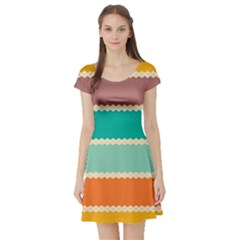 Rhombus And Retro Colors Stripes Pattern Short Sleeve Skater Dress