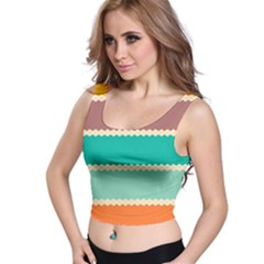 Rhombus And Retro Colors Stripes Pattern Crop Top