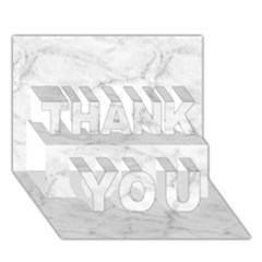 White Marble 2 Thank You 3d Greeting Card (7x5)  by ArgosPhotography