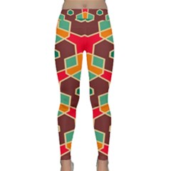 Distorted Shapes In Retro Colors Yoga Leggings by LalyLauraFLM