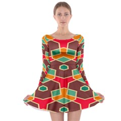 Distorted Shapes In Retro Colors Long Sleeve Skater Dress