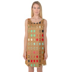 Squares On A Brown Background Sleeveless Satin Nightdress by LalyLauraFLM