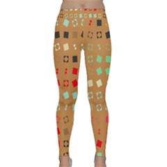 Squares On A Brown Background Yoga Leggings by LalyLauraFLM
