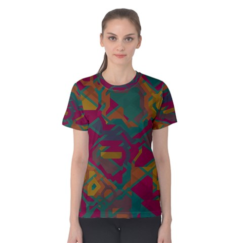 Geometric Shapes In Retro Colors Women s Cotton Tee by LalyLauraFLM