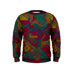 Geometric Shapes In Retro Colors  Kid s Sweatshirt by LalyLauraFLM