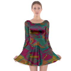 Geometric Shapes In Retro Colors Long Sleeve Skater Dress by LalyLauraFLM