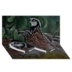 Bobwhite Quails Twin Heart Bottom 3d Greeting Card (8x4)  by timelessartoncanvas