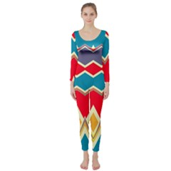 Chevrons And Rhombus  Long Sleeve Catsuit by LalyLauraFLM