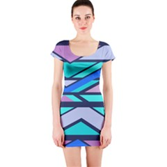 Angles And Stripes Short Sleeve Bodycon Dress by LalyLauraFLM
