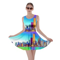 Chicago Colored Foil Effects Skater Dresses by canvasngiftshop