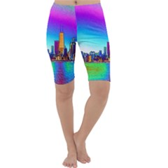 Chicago Colored Foil Effects Cropped Leggings