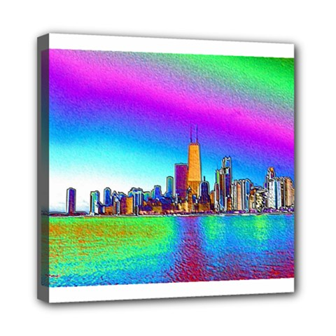Chicago Colored Foil Effects Mini Canvas 8  X 8  by canvasngiftshop
