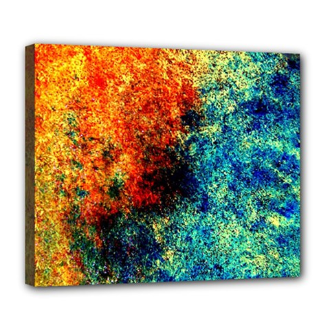 Orange Blue Background Deluxe Canvas 24  X 20   by Costasonlineshop