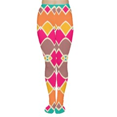 Symmetric Shapes In Retro Colors Tights by LalyLauraFLM