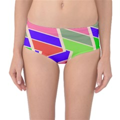 Symmetric Distorted Rectangles Mid-waist Bikini Bottoms by LalyLauraFLM