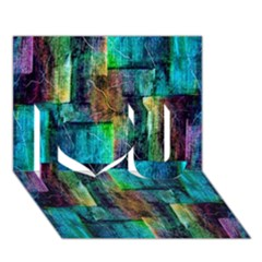 Abstract Square Wall I Love You 3d Greeting Card (7x5)