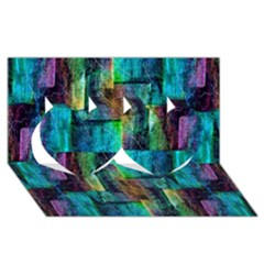 Abstract Square Wall Twin Hearts 3d Greeting Card (8x4)  by Costasonlineshop
