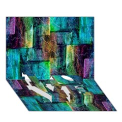 Abstract Square Wall Love Bottom 3d Greeting Card (7x5)  by Costasonlineshop