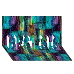 Abstract Square Wall Best Sis 3d Greeting Card (8x4)  by Costasonlineshop