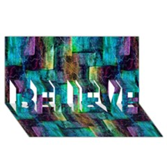 Abstract Square Wall Believe 3d Greeting Card (8x4)  by Costasonlineshop