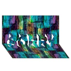 Abstract Square Wall Sorry 3d Greeting Card (8x4)  by Costasonlineshop
