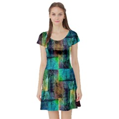 Abstract Square Wall Short Sleeve Skater Dresses by Costasonlineshop