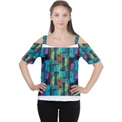 Abstract Square Wall Women s Cutout Shoulder Tee by Costasonlineshop