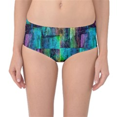 Abstract Square Wall Mid Waist Bikini Bottoms by Costasonlineshop