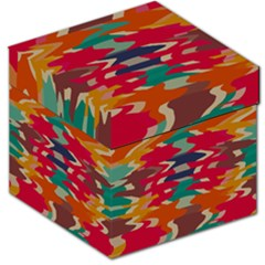 Retro Colors Distorted Shapes Storage Stool by LalyLauraFLM