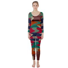 Retro Colors Distorted Shapes  Long Sleeve Catsuit by LalyLauraFLM