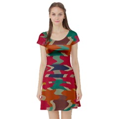 Retro Colors Distorted Shapes Short Sleeve Skater Dress by LalyLauraFLM