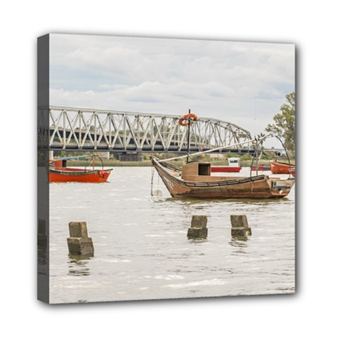 Boats At Santa Lucia River In Montevideo Uruguay Mini Canvas 8  X 8  by dflcprints