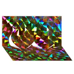 Cool Glitter Pattern Twin Hearts 3d Greeting Card (8x4)  by Costasonlineshop