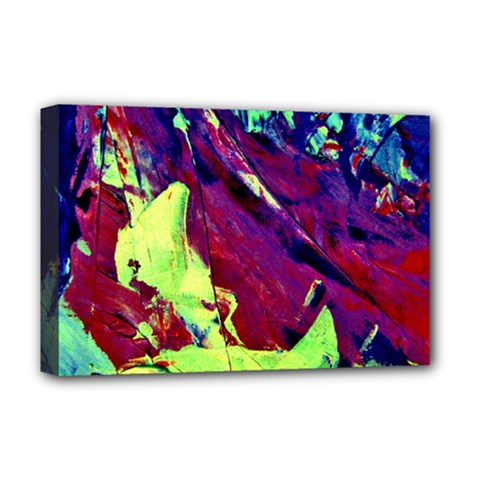 Abstract Painting Blue,yellow,red,green Deluxe Canvas 18  X 12