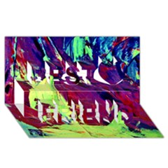 Abstract Painting Blue,yellow,red,green Best Friends 3d Greeting Card (8x4)  by Costasonlineshop