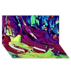Abstract Painting Blue,yellow,red,green Twin Heart Bottom 3d Greeting Card (8x4)  by Costasonlineshop