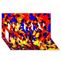 Fire Tree Pop Art Merry Xmas 3d Greeting Card (8x4)  by Costasonlineshop