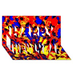Fire Tree Pop Art Happy New Year 3d Greeting Card (8x4)  by Costasonlineshop