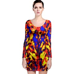 Fire Tree Pop Art Long Sleeve Bodycon Dresses by Costasonlineshop