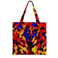 Fire Tree Pop Art Zipper Grocery Tote Bags by Costasonlineshop