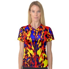 Fire Tree Pop Art Women s V Neck Sport Mesh Tee by Costasonlineshop